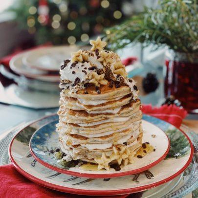 S'mores Pancakes w/Bananas & Marshmallow Whipped Cream Filling
