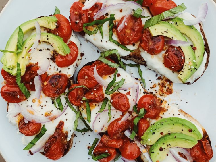 Toast w/Blistered Tomatoes, Mozarella & Avocado