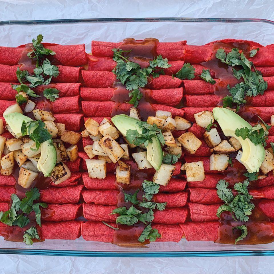 Cheese Enchiladas con Papitas (Potatoes)
