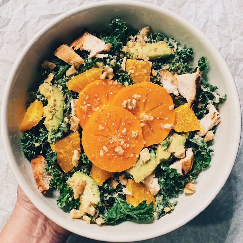 Kale Salad w/Orange Sections, Avocado & Grilled Chicken