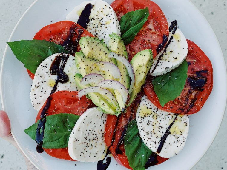 Caprese Salad w/Balsamic Reduction Drizzle & Avocado