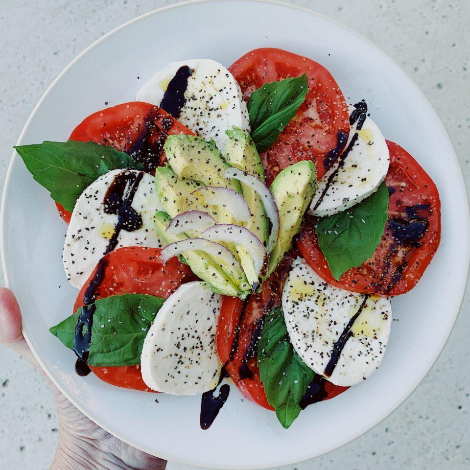 Caprese Salad w/Balsamic Reduction Drizzle & Avocado