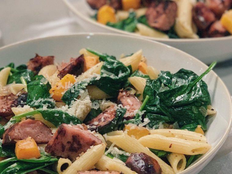 Penne Pasta w/Grilled Chicken, Chicken Sausage, Butternut Squash & Spinach