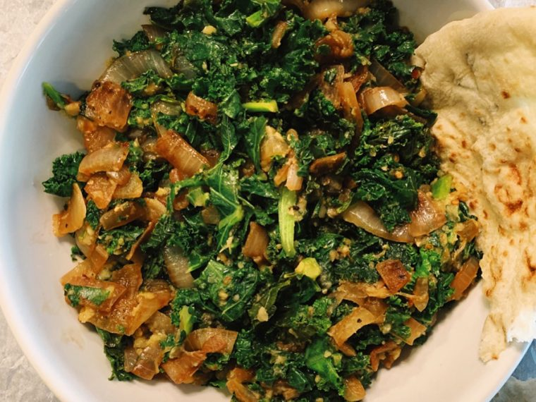 Kale with Carmelized Onions & Red Lentils