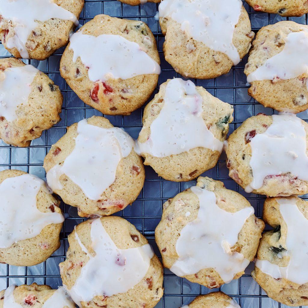 Fruitcake Cookies w/Lemon Drizzle