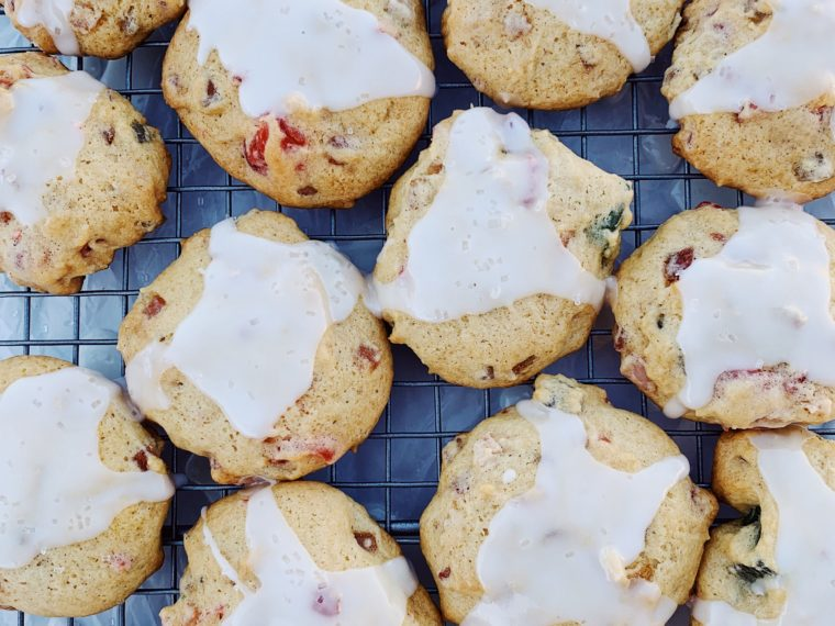 Fruitcake Cookies w/Lemon Drizzle