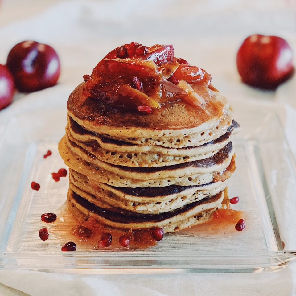 Gingerbread Pancakes with Ginger Plum Compote