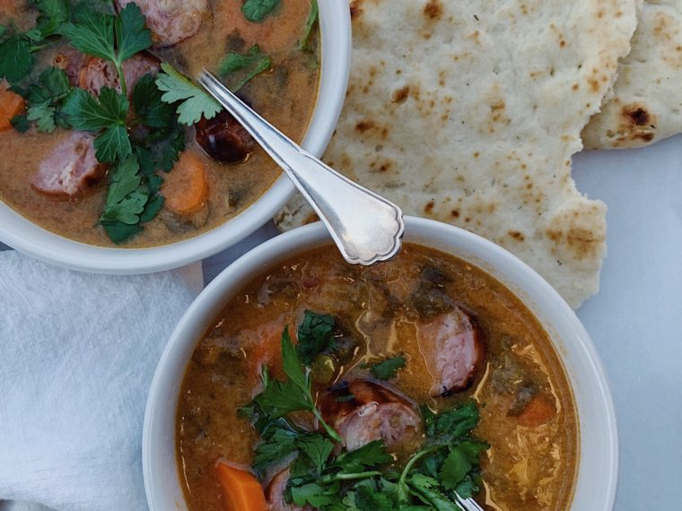 Spicy Moroccan Soup w/Grilled Chicken Sausage