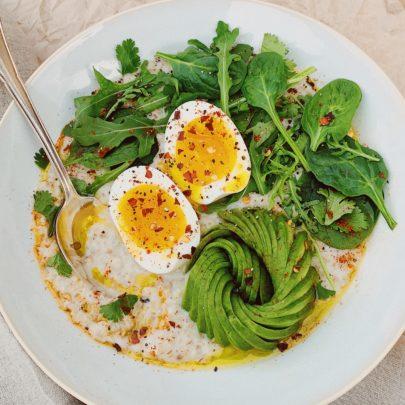 Savory Porridge w/Avocado, Greens & a 7-Minute Egg