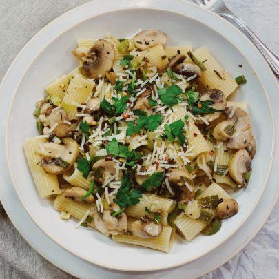 Rigatoni w/Mushrooms, Green Onions & Jalepeño (SWAT Rags)