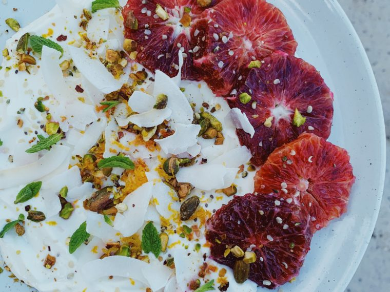 Coconut Yogurt w/Blood Oranges, Coconut Flakes & Pistachios