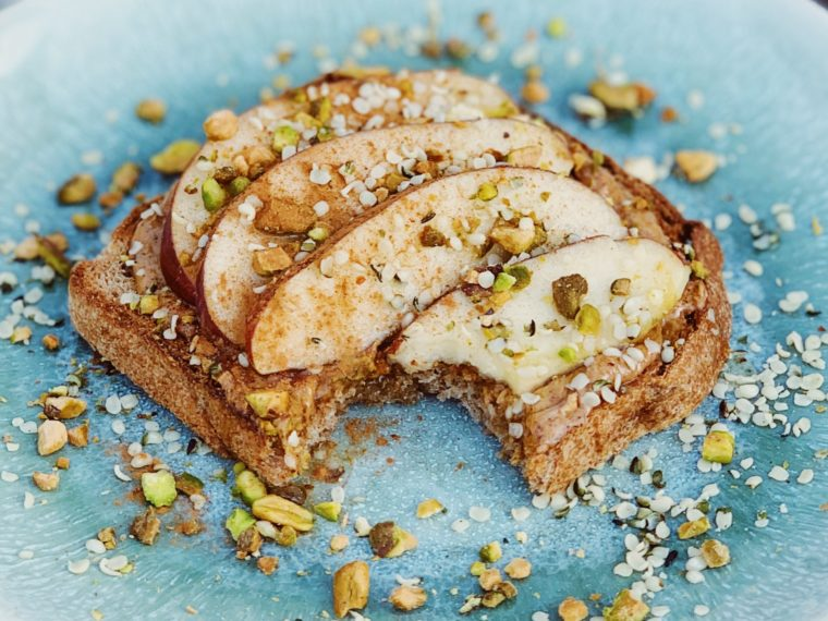 Toast w/Maple Almond Butter & Sliced Apples