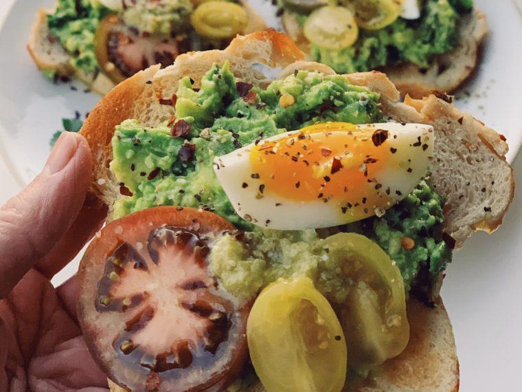 Avo Toast w/Toms, Green Salsa & a Jammy Egg