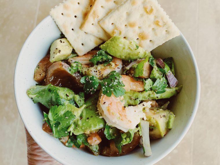 Shrimp, Avocado, Kumato Tomatoes, Red Onion & Italian Parsley Bowl