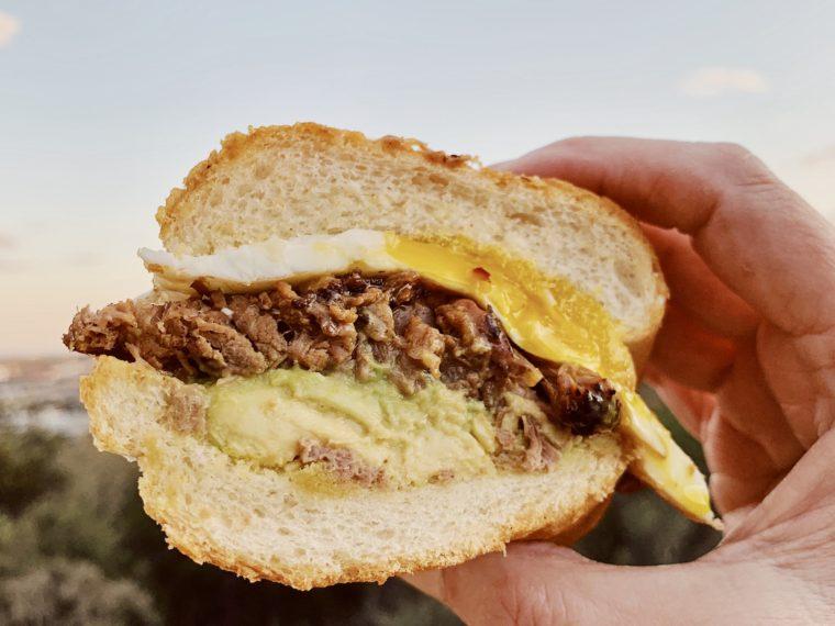 Chopped Brisket Sandwich w/a Fried Egg & Avocado