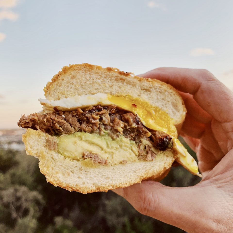 Chopped Brisket Sandwich w/a Fried Egg & Avocado
