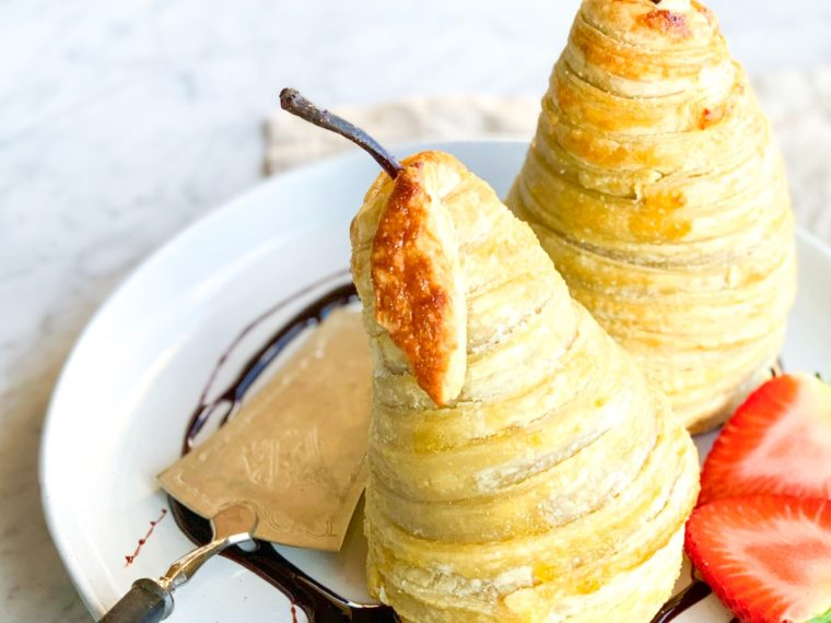 Poached Pears in Puff Pastry