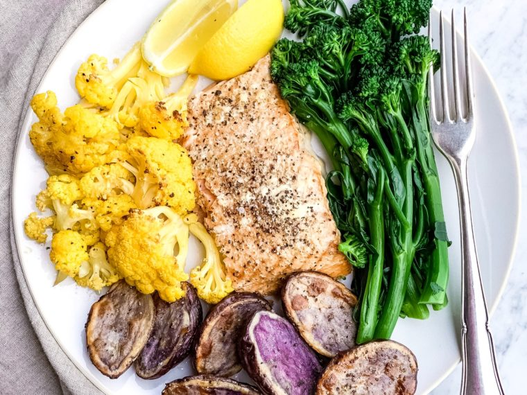 Smoked Salmon w/Roasted Orange Cauliflower, Purple Potatoes & Broccolini