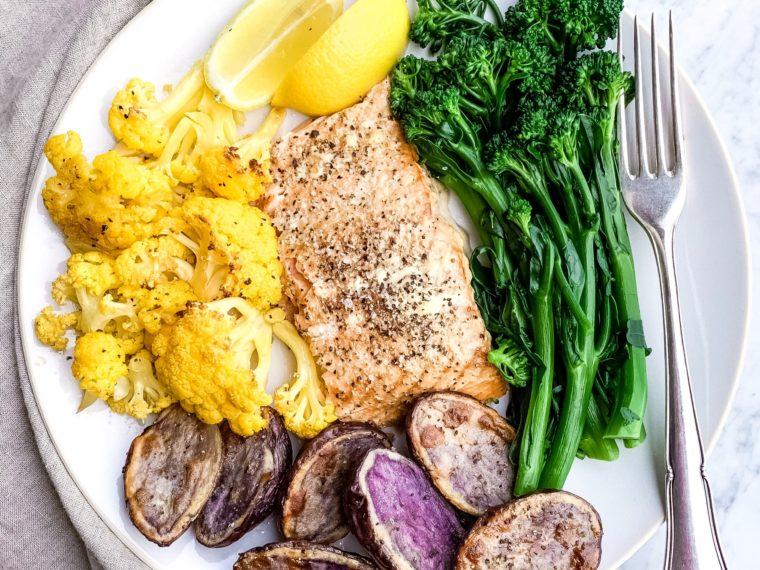 Smoked Salmon w/Roasted Orange Cauliflower, Purple Potatoes & Broccolini