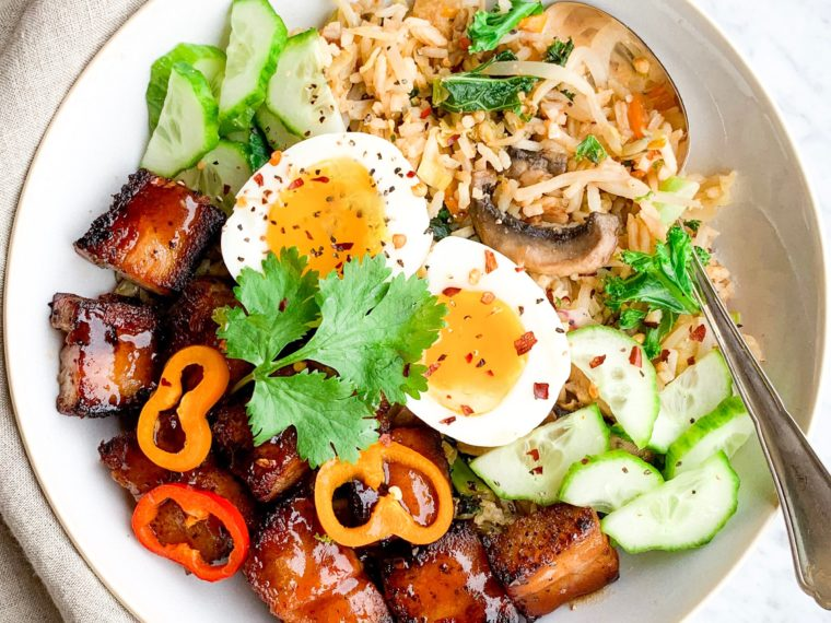 Asian Pork Belly & Fried Rice Bowl