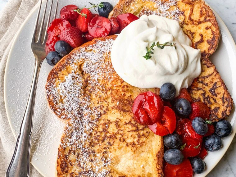 French Toast w/Roasted Strawberries