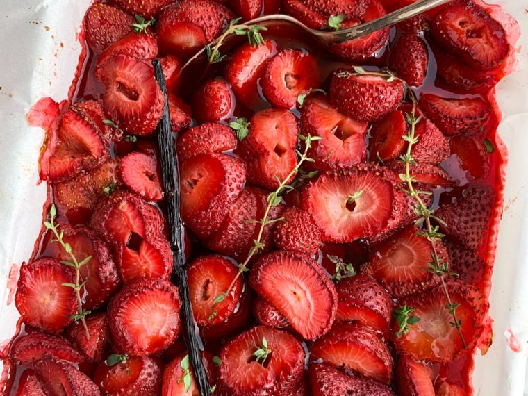 Vanilla & Thyme Roasted Strawberries by Gather and Feast