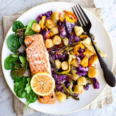 Pan Salmon, Caramelized Veg & Cauliflower Gnocchi