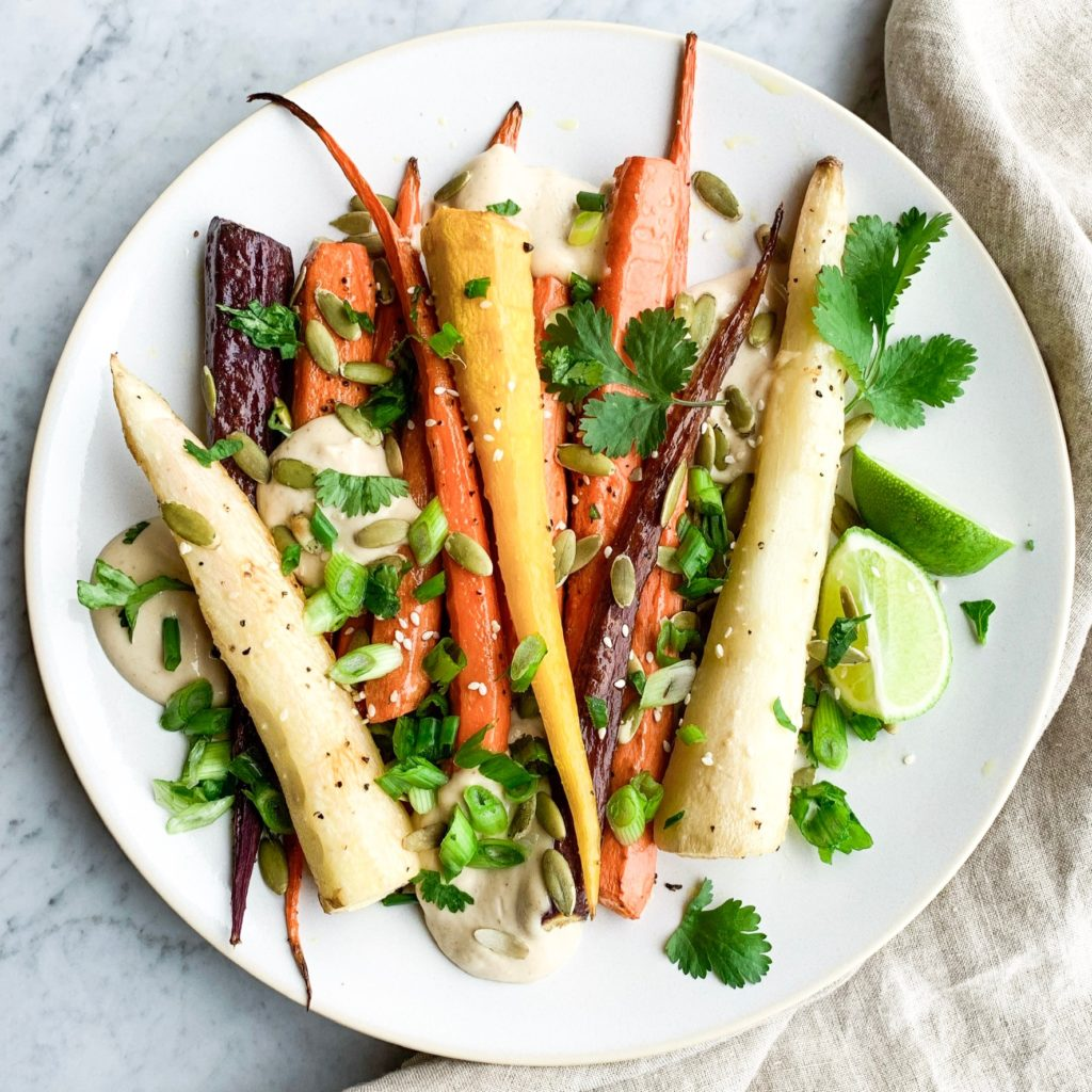Roasted Rainbow Carrots w/Lime Tahini Sauce