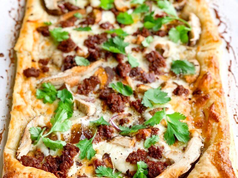Chorizo, Fig & Shiitake Puff Pastry Pizza