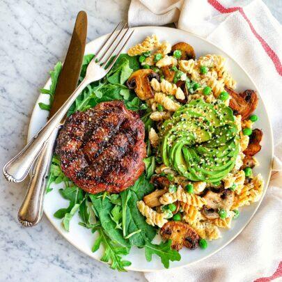 Rotini w/Boursin Cheese, Peas & Mushrooms