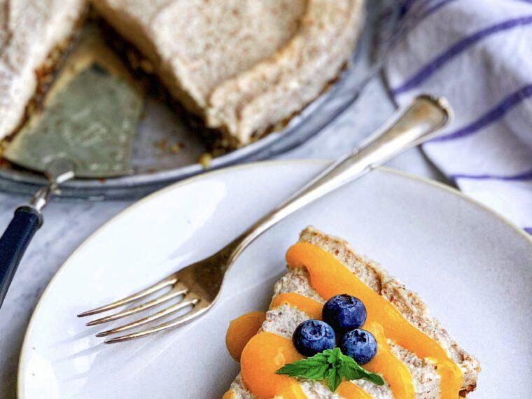 Vegan Almond Cream Cake w/Apricot Coulis