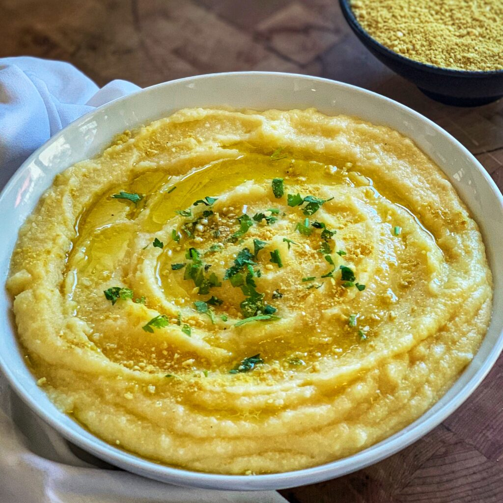Polenta w/Vegan Parmesan Cheese by The Culinary Institute of America