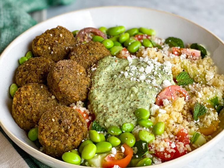 Falafel Bowl w/Mediterranean Couscous Salad, Edamame & Green Tahini Sauce