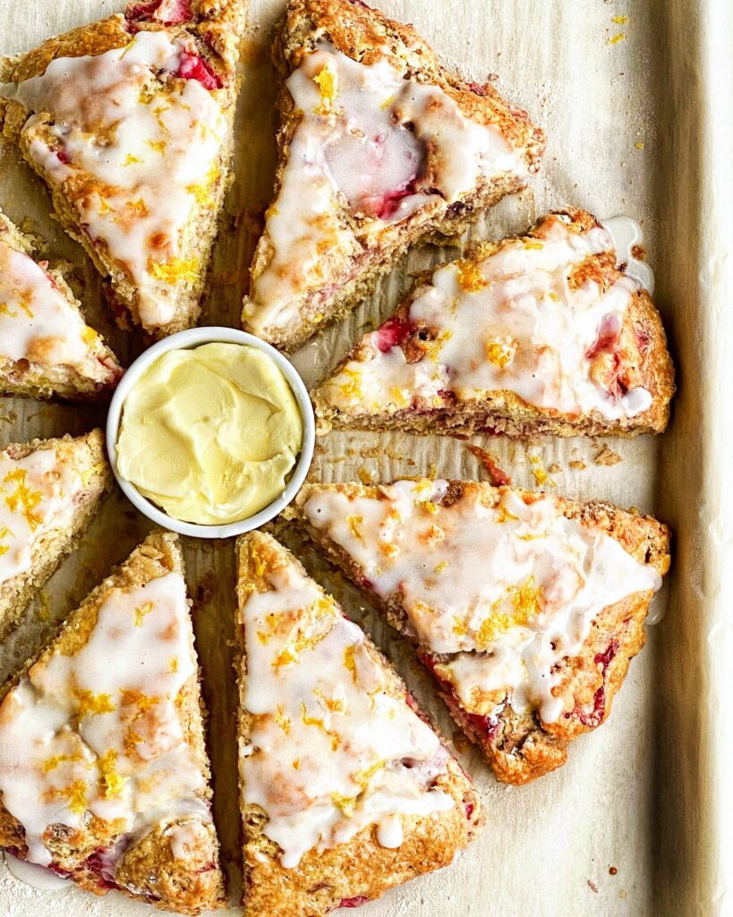 Strawberry Scones w/Lemon Icing